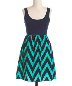 Navy & Mint Zigzag A-Line Dress | Daily deals for moms, babies and kids