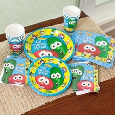 Veggie Tales party supplies, just waiting for Sept to arrive:) Veggie Tales Birthday, Veggie Tales Party, 4th Birthday Parties, Birthday Bash, Birthday Ideas, Veggietales, First Birthdays, Party Time, Party Supplies