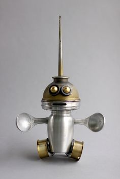 rollie 1 - found object robot assemblage sculpture by brian Marshall | by adopt-a-bot