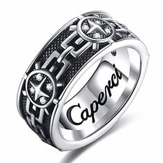 Caperci Christian Vintage Artistic Sterling Silver Mens Band Ring Size 12 ** Check out this great product.