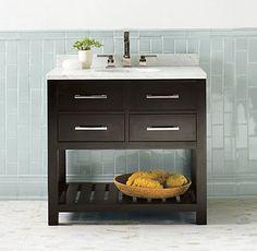 Hutton Single Washstand Dark Espresso - modern - bathroom vanities and sink consoles - other metro - by Restoration Hardware