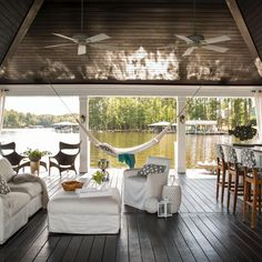 Elevated Party Deck, Floating Lounge on the Lake With Comfy Seating and Open Bar|Outdoor Living, Elevated | Fresh Faces of Design | HGTV