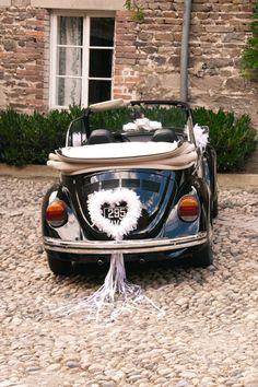 Déco voiture des mariés. Cœur en plumes blanc