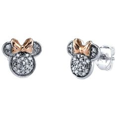 Disney ct tw diamond Minnie Mouse post earrings are made of sterling silver with pink gold bow accents. Earring size: x Weight: grams. Officially licensed by the Walt Disney company. Silver Diamonds, Diamond Studs, Diamond Jewelry, Diamond Earrings, Silver Jewellery, Jewellery Shops, Diamond Necklaces, Jewelry Stores, Geode Jewelry