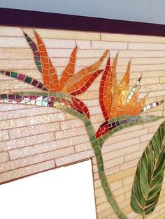 This item is not available - Bird of paradise mirror mosaic framed wall by BellasArtMosaics… More - Mosaic Garden Art, Mosaic Pots, Mosaic Glass, Mosaic Tiles, Mosaics, Mosaic Artwork, Mosaic Wall Art, Mirror Mosaic, Mosaic Crafts