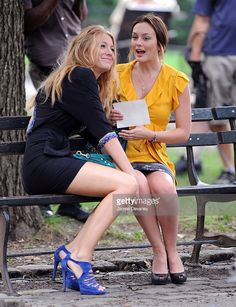 Blake Lively and Leighton Meester on location for 'Gossip Girl' in Central Park on July 27, 2009 in New York City.