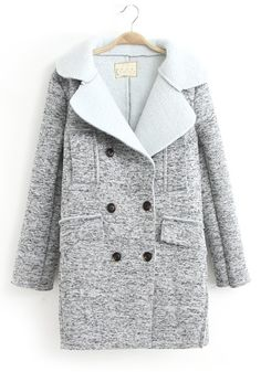 ++ light grey tailored collar wool coat