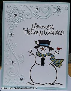 """CHRISTMAS CARD KIT STAMPIN UP """"FROSTY"""" SNOWMAN, SNOWFLAKES, HANDMADE in Crafts, Handcrafted & Finished Pieces, Greeting Cards & Gift Tags 
