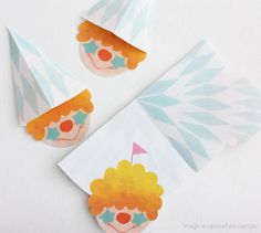 """Happy Memo Card"" made in Japan. Write a note on memo, fold to make Pierrot then recipiant unfolds to read the message. Cute item from shop Upon a Fold"