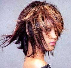 Medium layered hair style with long bangs, highlight