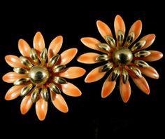 Sarah Coventry Signed Earrings Vintage Gold Tone Orange Enamel | eBay