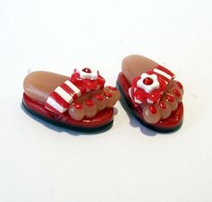 Handmade from Polymer Clay Red with White Striped Flip Flop BEADS by BarbiesBest on Etsy