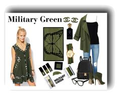 """Military Green"" by aniyah-xxxx ❤ liked on Polyvore featuring By Terry, Post-It, J Brand, T By Alexander Wang, Michael Kors, Valentino, Gianvito Rossi, Clinique, Jin Soon and JINsoon"