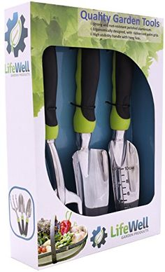 Premium 3-Piece Garden Tool Set. The Toughest Gardening Tools You'll Ever Buy! Perfect Christmas Gift. Set Includes Trowel, Transplanter, Rake / Cultivator PLUS Growing Tips E-Book. Read more  at the image link.