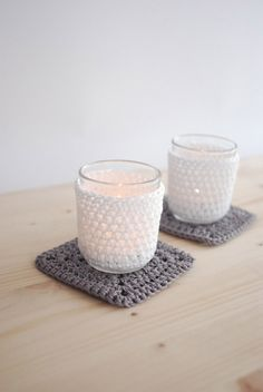 Set of 2 tea light covers glass included by TheNewcrochet on Etsy