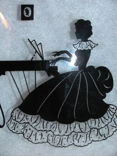Vintage Piano Player Silhouette Painted on Glass