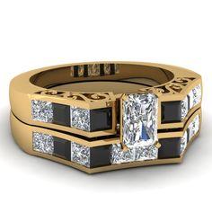 Slide Design Set || Radiant Cut Diamond Wedding Set With Black Diamond In 14K Yellow Gold