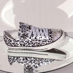 2737a33492b878 Animal Print Converse Shoes with Swarovski Crystals Converse Shoes