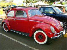 Classic Red Volkwagon Beetle ~ white walls are soooo classy