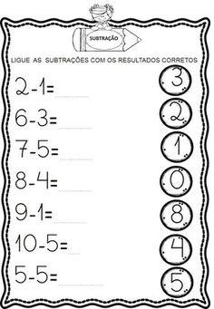 Atividades de Subtração Kindergarten Math Worksheets, Writing Worksheets, Alphabet Worksheets, Toddler Learning Activities, Math Activities, Math Subtraction, Preschool Writing, Math Notebooks, Math For Kids