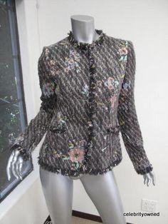UNGARO Fuschia Multi Color Woven Button Down Jacket 8   eBay