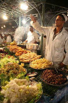 Jemaa el fna food stalls in Marrakech, Morocco. This is a must do!