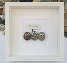 Pebble Art family, art pebble rock concert, unique gift for dad, funny gift for dad Pebble art picture of rock group with googly eyes, unique gift for Funny Gifts For Her, Unique Gifts For Dad, Unique Birthday Gifts, Stone Crafts, Rock Crafts, Hessian Flowers, Pebble Art Family, Pebble Pictures, Stone Pictures