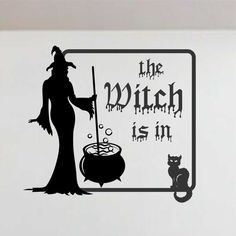 Vinyl Wall Quotes Lettering Halloween The Witch Is In Cauldron Cat Decals Stickers