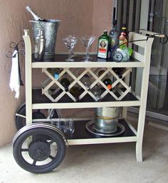 {Old Wooden Changing Table} turned {Bar Cart!}