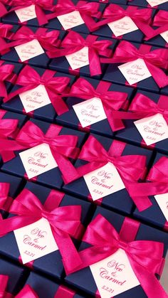 Navy blue wedding favor box with Hot Pink satin ribbon bow and custom names, Elegant bonbonniere. Personalized gift boxes make a unique way to thank guests for attending your special day. #giftbox #personalizedgifts #weddingfavor #weddingbox #weddingfavorideas #bonbonniere #weddingparty #sweetlove #favorboxes #candybox #elegantwedding #partyfavor #navybluewedding #bluewedding #giftboxes #uniqueweddingfavors #uniqueweddingideas #pinkweddingdress