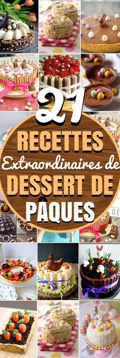 Découvrez 21 recettes extraordinaires de dessert de Pâques, à déguster en famille. Pâques est synonyme de bon repas… Mais surtout d'un bon dessert de Pâques. Trouvez votre bonheur parmi nos recettes de desserts de Pâques, , qu'il soit traditionnel ou moins marqué de l'empreinte de Pâques ... #paques #dessert #recette #gateau #idées
