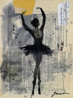 ballerina - ink drawing & collage