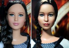 Katniss Catching Fire Barbie repainted to look like Jennifer Lawrence. and its a better looking doll because of it. How did they even do that?