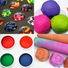 Recettes de pâte à modeler, peinture, glu, crayons ou craie... pour faire différent!