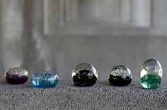 Paperweights handmade in glass.