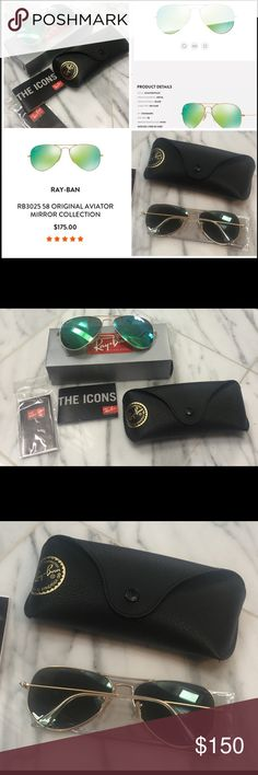 RAY-BAN AVIATORS WITH GREEN FLASH LENSES (RB3025) UNISEX RAY-BAN AVIATORS SUNGLASSES , GREEN FLASH LENSES WITH GOLD FRAMES, THEY ARE RAY BAN AT THEIR BEST, ALWAYS COOL AND LOOKS GREAT ON MEN AND WOMAN, NEVER WORN, NEW IN BOX Ray-Ban Accessories Sunglasses