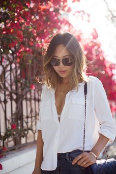 It's May In L.A. Which Means It's Sandal Weather | White Button Down Shirt and Ripped Skinny Jeans | @AimeeSong - http://musteredlady.com/sandal-weather/ .. http://j.mp/1ErLtxR | MusteredLady.com