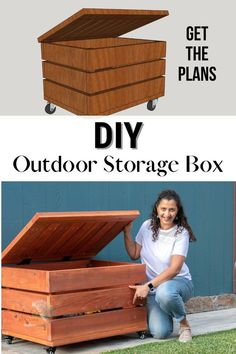 Learn how to build a DIY outdoor storage box for your patio, porch, or deck to store toys, packages, and tools. #woodworking #outdoorstorage #AnikasDIYLife Scrap Wood Projects, Woodworking Projects That Sell, Diy Woodworking, Furniture Projects, Diy Furniture, Wood Projects For Beginners, Wood Working For Beginners, Easy Home Decor, Diy Box