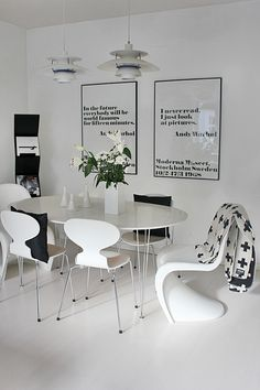Via Room of Karma | Panton Chair | Andy Warhol Poster | Pia Wallen Blanket | Black & White, Scandinavian, Nordic
