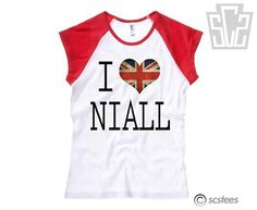 I Love Niall Horan Women's Fitted BAseball T Shirt - 1D, England Flag, One Direction Clothing 058