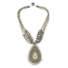 Collier pendentif médaillon perles et émail