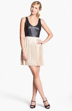 BB Dakota Faux Leather Bodice & Pleated Skirt Dress (Online Only) available at #Nordstrom