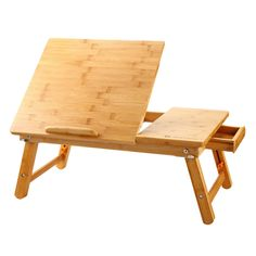 Laptop Desk Super Top Bamboo Adjustable 100% Bamboo Foldable Breakfast Serving Bed Tray w' Tilting Top Drawer