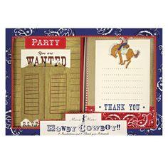 Cowboyparty Einladungskarten und Danksagungskarten