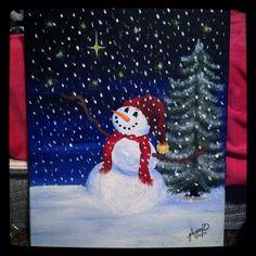 """Snowman loving snow"" by Julianna Hunter. Acrylic paint #christmas"