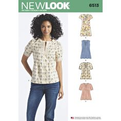 This Misses' top and dress combo features a pleated front with two different short sleeve options and a sleeveless version with ties at back. New Look sewing pattern 6513.