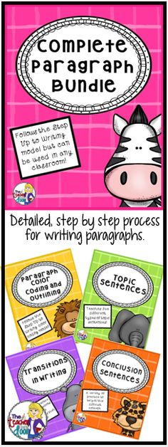 This Bundle combines four of my very popular writing strategy sets: Paragraph Color Coding and Outlining, Topic Sentences, Transitions in Writing, and Conclusion Sentences. Everything you need is here to help your students craft beautifully written paragraphs, and it is Common Core aligned! (TpT Resource)