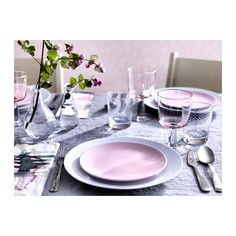 Tisch Ikea A pink and gray dinner setting with light pink plates and glasses. Pink Plates, Grey Plates, Grey Dinning Table, Dining Room, Pink Dinner Sets, Ikea Dinnerware, Ikea Table, Affordable Furniture, Dinner Table
