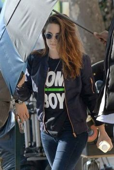 "Ever heard of the clothing line Wildfang? It's a fave of Kristen Stewart, who proclaimed her tomboy tendencies with a Wildfang ""Tomboy"" tee. 