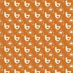 Birch Fabrics Orange White Chickens